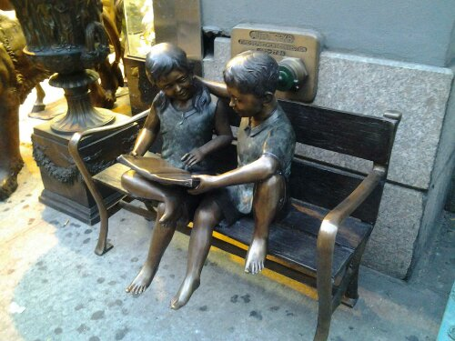 sculpture childen 5th Ave New York NY public domain picture photo metal